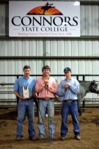 Cattle Division winners, from left to right is 1st Josh Walton, Auburn, AL; 2nd Matthew Murdoch, Marion, TX; and 3rd Tyler Mackey, Blum, TX
