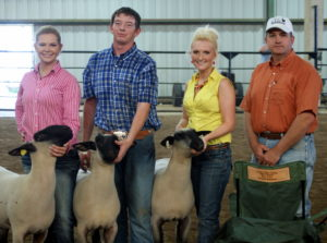 Sheep Division winners from left to right are 3rd Lindsay Bowman, Kersey, CO; 2nd Taylor Tjaden, San Angelo, TX; 1st Hattie Anastasio, Elkins, AR; and Judge Bryan Craig.