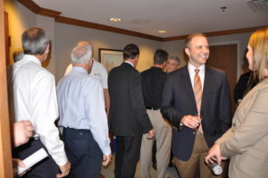 Community leaders attended a reception in honor of Regent Lester's visit to campus.