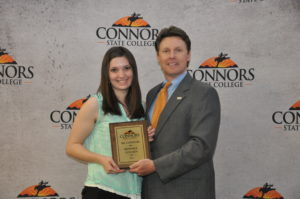 2013 Ms. Connors, Kendall Golden is pictured here recieving her award from CSC President, Dr. Tim Faltyn.