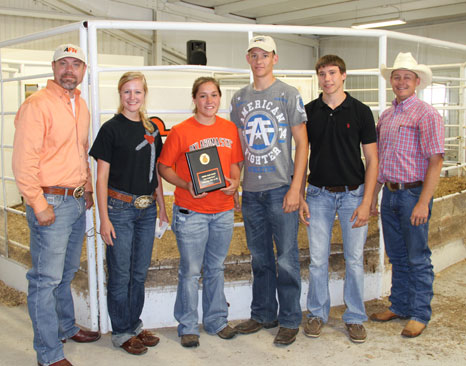 Top-placing senior team, Wyandotte FFA Chapter, members shown: Lane House, Kalyn McKibben, Tyler Compton and Natalie Hofschulte. Pictured with Steve Thompson, American Farmers and Ranchers Policy and Membership Development Coordinator (far left) and Jake Walker, CSC Rodeo Coach and Agriculture Instructor (far right).