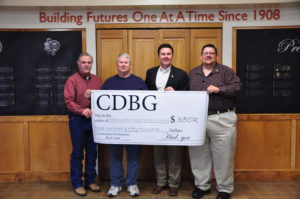 Connors State College and the town of Warner has been awarded a $350,000 Community Development Block Grant to make town and campus improvements.  Pictured are (L to R):  Phil Ross, Warner Economic Development Council, Bill Gardner, Warner City Council, Dr. Tim Faltyn, Connors State College President, and Warner Mayor Jack Tatum.