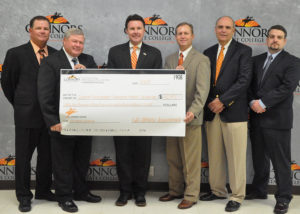 Pictured are, (L to R): Head Baseball Coach, Perry Keith; Head Softball Coach, Rick Carbone; CSC President, Dr. Tim Faltyn; Women's Basketball Head Coach, Eddie Kite; Athletic Director and Men's Basketball Had Coach, Bill Muse; and Executive Director of the Connors Development Foundation, Ryan Blanton.