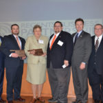 Connors State College and the Town of Warner where honored for their economic partnership receiving the Oklahoma State Regents for Higher Education Business Partnership Excellence Award. Pictured are (L to R):  Lt. Governor Todd Lamb, Executive Director of CSC Development Foundation Ryan Blanton, Warner Town Councilwoman Barbara Watson, Warner Mayor Jack Tatum, SCS President Tim Faltyn, and OSRHE Chancellor Glen Johnson