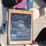 Perry Keith was presented with this plaque after returning from his 1400th win