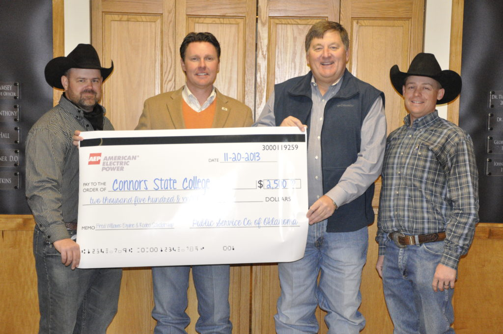Pictured are CSC Equine Director and Head Rodeo Coach, Jake Lawson, CSC President, Dr. Tim Faltyn, Mouser, and CSC Equine Instructor and Assistant Rodeo Coach Jake Walker.