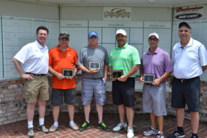 Connors State College held its Third Annual Golf Tournament to raise scholarship funds.  The winning team (L to R) CSC President, Dr. Tim Faltyn, Mike Young, Larry Young, Kyle Tingel, Gene Polston and CSC Athletic Director, Bill Muse.
