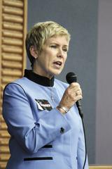 Superintendent of Public Instruction Janet Barresi speaks Tuesday.