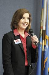 Superintendent of Public Instruction candidate Joy Hofmeister speaks Tuesday.