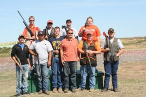 The Connors State College Shooting Sports Team outshot OSU in recent competition.  Members of the Connors team are (Row 1, Left to Right):  Clayton Moubrey, Winterhawk Grimmett, Tyler Fletcher, Team Coach Robert Holtfreter, Korbin Reich and Danny Phillips.  (Row 2, Left to Right):  Briley Cozad, Set Willard, Jay Gilbertson, Miranda Harshbarger