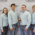 5th Place Meats Judging Team – Cherryvale FFA Left to right: Alexa Maulsby (6th Overall Individual), Zack Steed, Zach Wood, and Colben Dodson