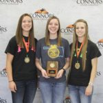 1st Place Dairy Products Team – Fairview FFA Left to right: Maggie Martens (2nd High Individual), Kara Schlotthauer, and Bethany Niles (1st High Individual).