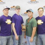 2nd Place Team – Junior Land Judging – Vian FFA Left to right: Tyrus Wells, Ben Spyres, Tee Trotter (4th High Individual), and Christi Crist