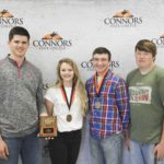 1st Place Environmental Science – Prague FFA Left to right: Dalton Cooper, Rylee Brown (3rd High Individual), Dustin Lynch (2nd High Individual), and Hunter Hinkle.