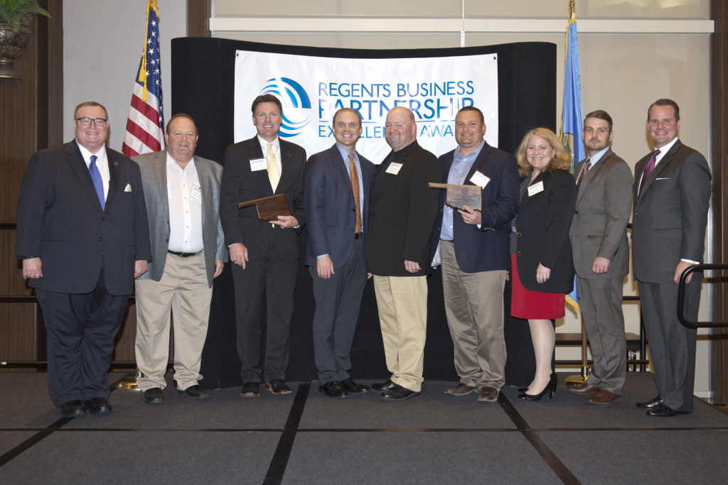 Photo from left to right. OSRHE Chancellor Glen Jonson, Commissioner Stephen Wright, CSC President Dr. Tim Faltyn, OSU A&M Board of Regents CEO Jason Ramsey, Commissioner Kenny Payne, Commissioner Ken Doke, CSC Director of Grants and Economic Development Lisa Berry, CSC Assoc. VP for External Affairs Dr. Ryan Blanton, Lt. Governor Todd Lamb