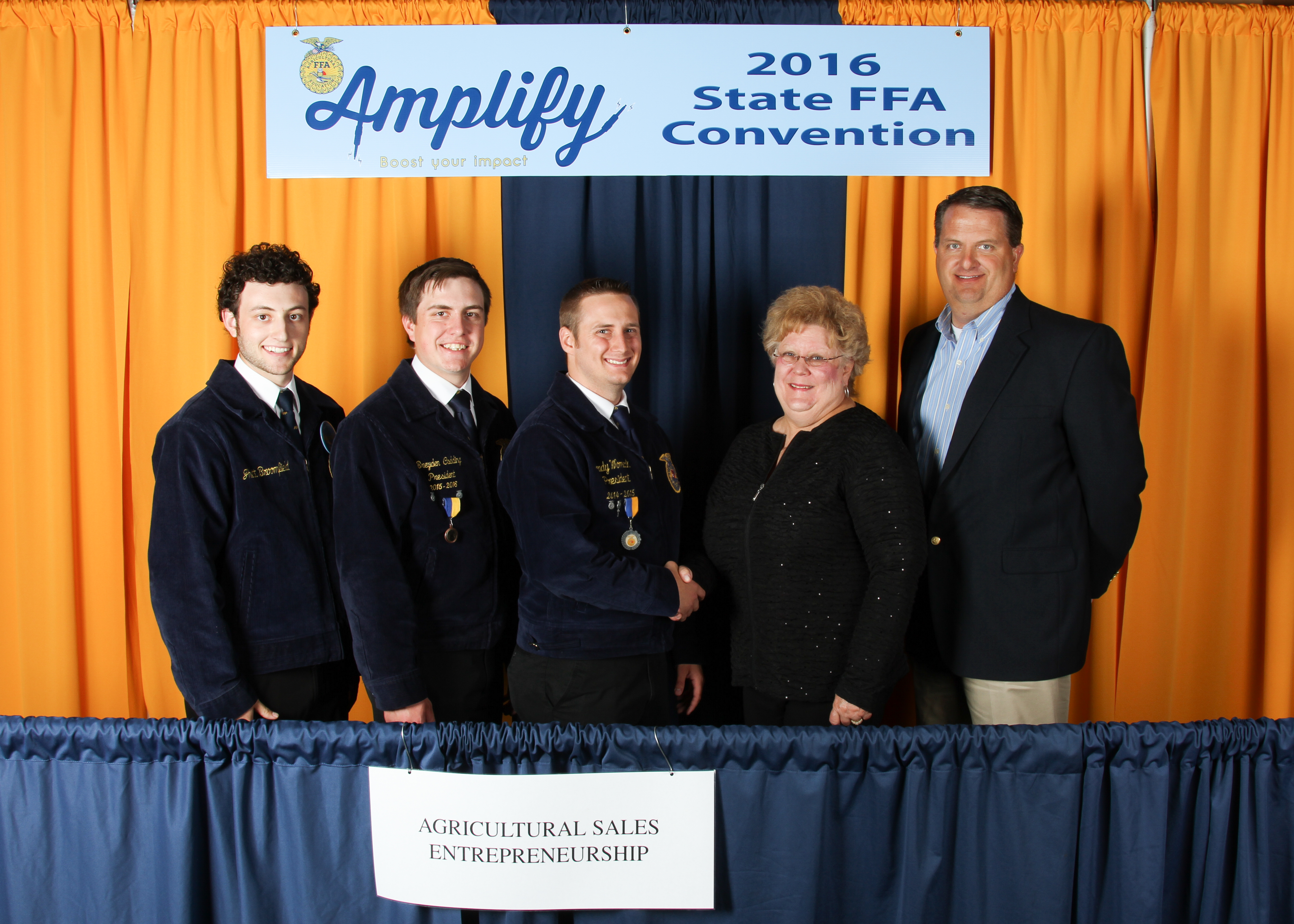 Brady Womack (third from left) of the Morris FFA Chapter captured first-place honors in the 2016 Oklahoma FFA Agricultural Sales Entrepreneurship State Proficiency Award area. Joes Jones (right) of Livingston Machinery and Linda Shepard (second from right) of Pioneer Cellular congratulate Womack as well as Jhett Broomfield (left) of the Hennessey FFA Chapter and Breyden Codding of the Guthrie FFA Chapter, who received second and third place, respectively.