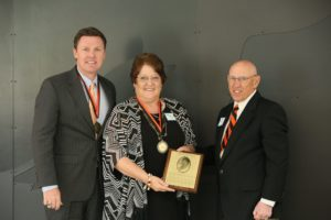 (L-R) Dr. Tim Faltyn, CSC President, Debra Evans, Alumni Hall of Fame Inductee, Joe Gill, CSC Alumni President.