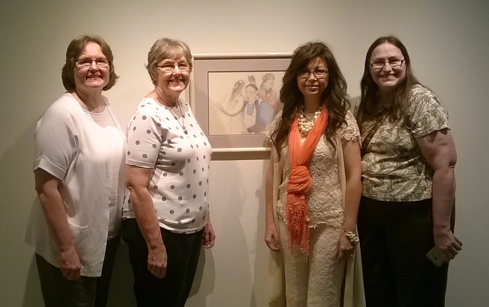 Sisters Dianna Whitehurt, Elizabeth Griffin and Elaine Harman donated an untitled art piece to the Connors State College Ken Ogden Family Museum at the Native American Success and Cultural Center on the Warner Campus. They are pictured with Rebecca Clovis (third from left), Native American Advisor and Cherokee Promise Coordinator, who was instrumental in procuring the art.